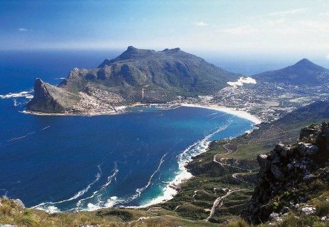 Aerial view of Sentinel, Houtbay and the Chapmans Peak Pass