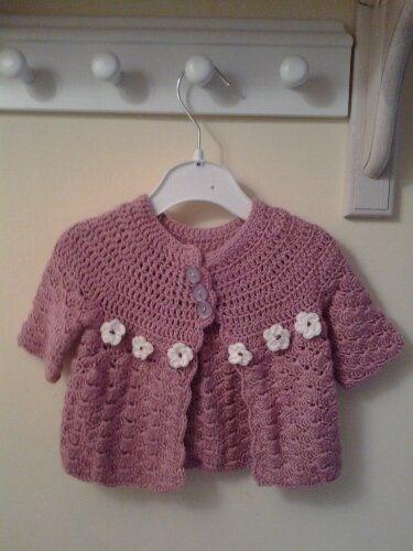 Pink newborn crochet cardigan