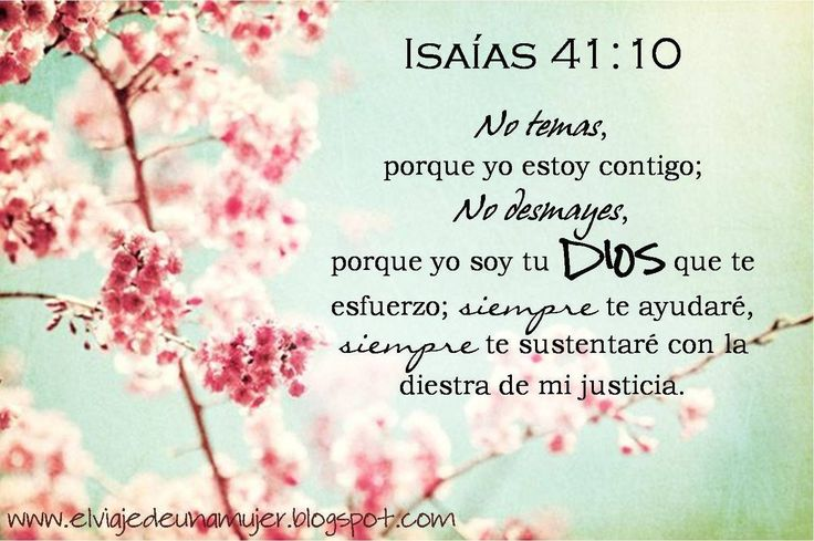 Isaías 41:10 No temas, porque yo estoy contigo; no desmayes, porque yo soy tu Dios que te esfuerzo; siempre te ayudaré, siempre te sustentaré con la diestra de mi justicia.♔