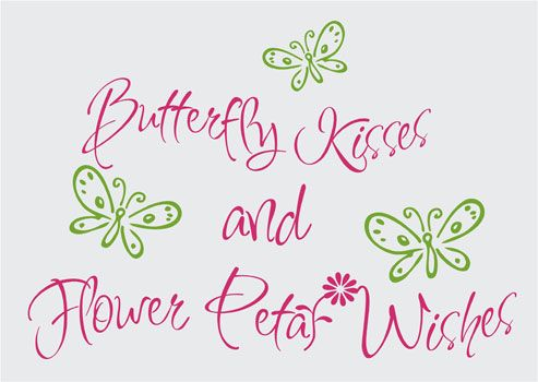 Butterfly Kisses Flower Petal Wishes Vinyl Wall Art