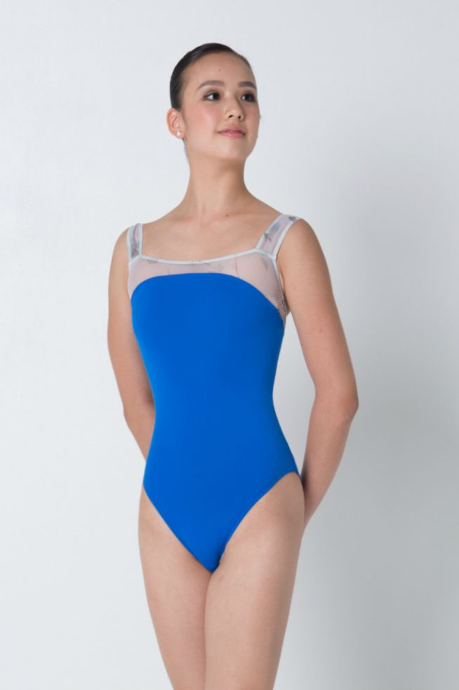 Topaz blue leotard with white-blue mesh. Comes with lining. While stocks last.