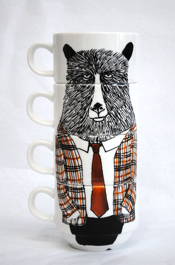Bear in a suit stackable mugs!