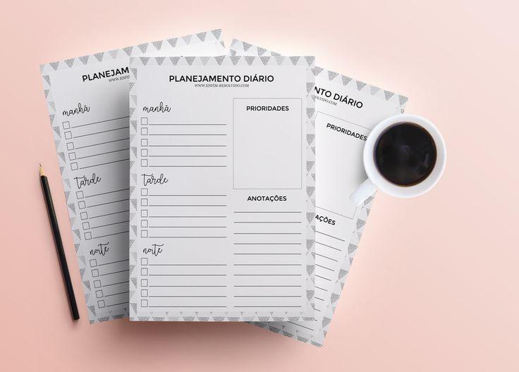download de planner diário, planner, planejamento diário, insert, printable, planner minimalista, planner preto e branco, planner diário 2017 free