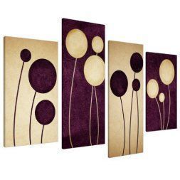 anvas home wall art décor is trendy and popular more so than ever. It truly is my favorite type of wall art as it is trendy, stylish and popular in homes across America. Wall art is a simple and fun way to spice up a blank wall or a sparsely decorated room.  Large Plum Purple and Cream Abstract Floral Canvas Wall Art
