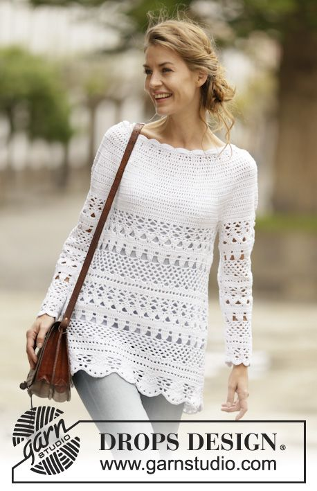 "Jersey de ganchillo DROPS con patrón de calados y canesú redondo, tejido de arriba abajo en ""Cotton Light"". Talla: S - XXXL. ~ DROPS Design"