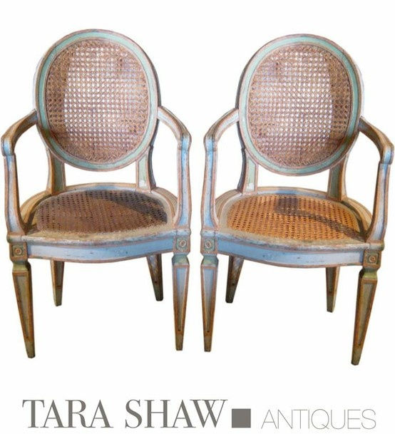 18c Louis XVi Caned Pair Of Fauteuils. Tara Shaw Antiques.