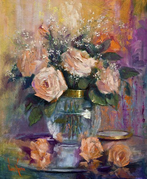 """pintura al óleo """"rosas del melocotón"""" 24 x 20 pulgadas por artista NORA KASTEN"""