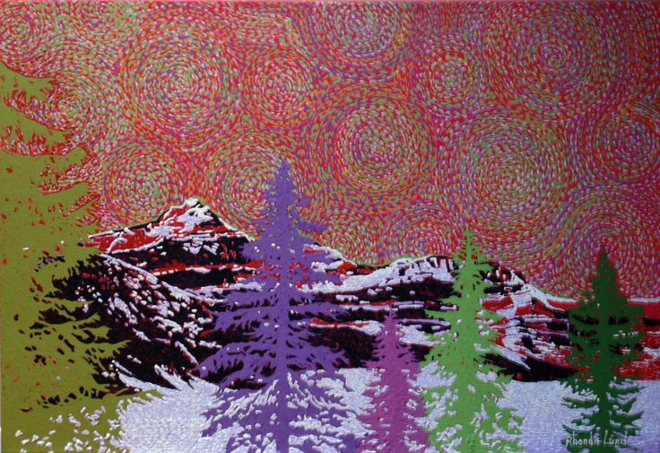 """Winter in the Rockies"" by Artist Rhonda Lund 36 x 24"" Acrylic on Canvas; Staple back 'subtle colors coming forth in the ordered nature of the Rocky Mountains"