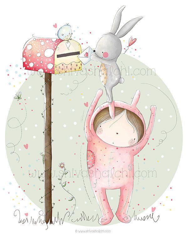 Bambini illustrazione - Nursery Wall Art - amore e amicizia, amore di Bunny di ShivaIllustrations su Etsy https://www.etsy.com/it/listing/152772078/bambini-illustrazione-nursery-wall-art