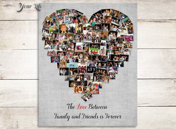 Family Photo Collage, Parent Gift, Photo collage, Heart Collage, Parent gift for wedding, Gift for in-laws, Gift for mother-in-law