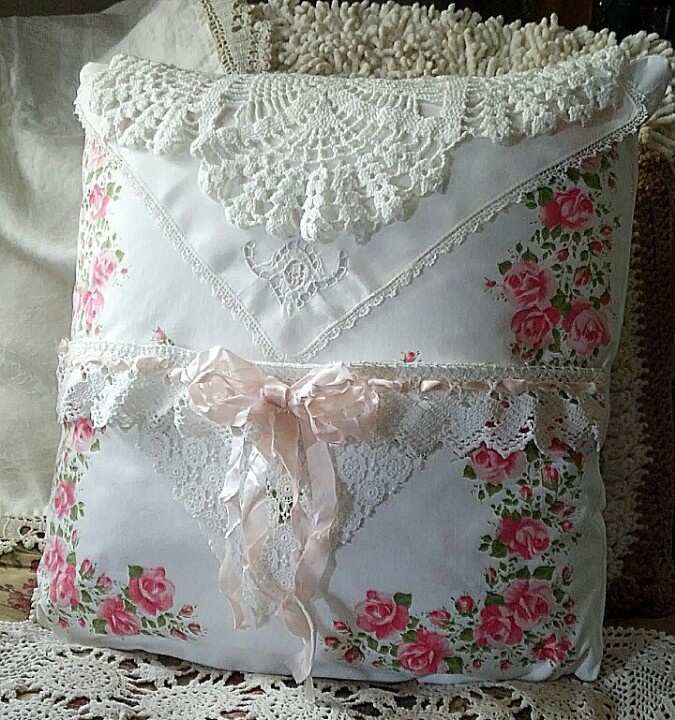Finished Another Shabby Throw Pillow Using Vintage Linens