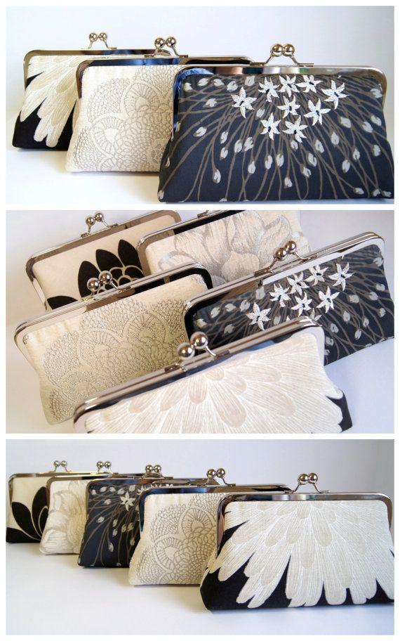 Brocade Velvet Crochet Doily Clutch Wedding bag by EllenVintage