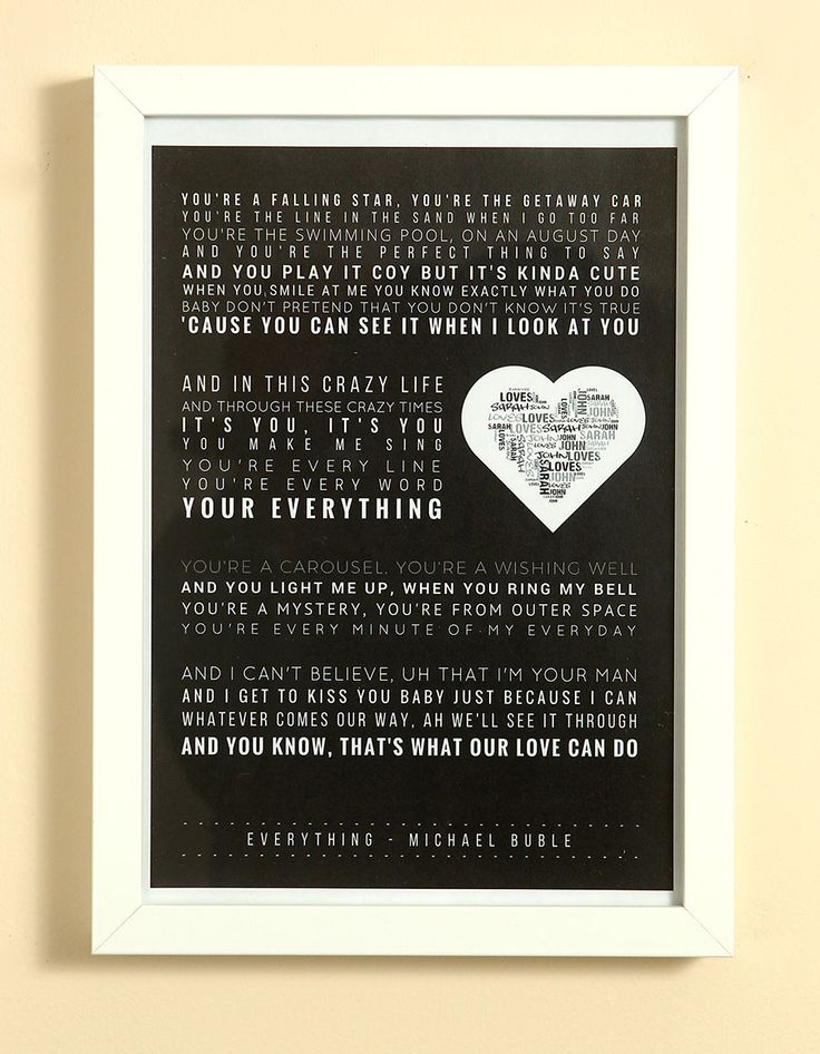 Black Choose Your Own Song Lyrics Word Art Print Personalised Heart A Box