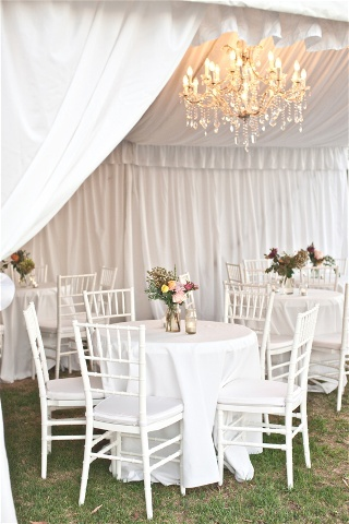 Marquee and chandeliers.