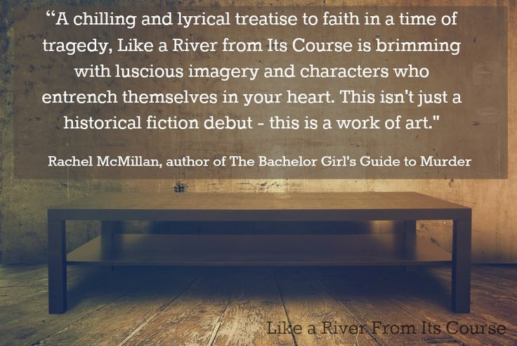 This endorsement from Rachel McMillan brought tears to my eyes. I'm so very grateful! #RiverNovel