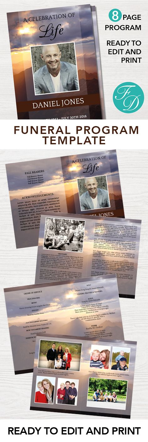 175 best 8 Page Funeral Program Templates images on Pinterest - funeral program template free download
