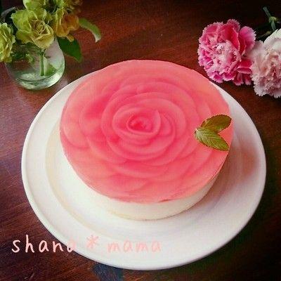 桃の薔薇のレアチーズケーキ♪母の日ケーキレシピ参考