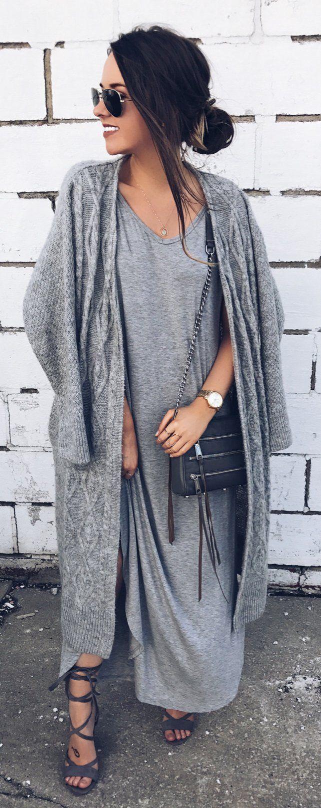 Grey Maxi Dress & Grey Maxi Cardigan & Dark Sandals