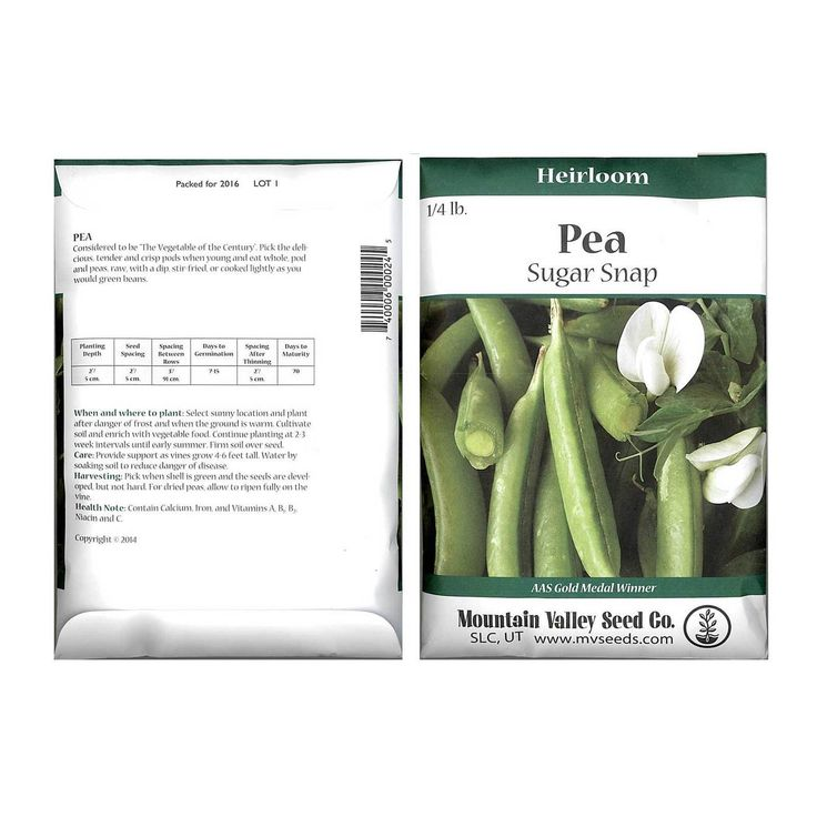 Non-GMO Pea Snap Sugar Snap Seed among a variety of Garden seeds at Mountain Valley Seed.