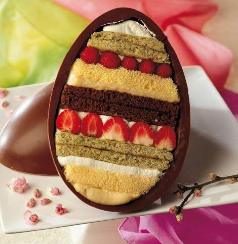 La Cucina Italiana - Ricetta: uovo di Pasqua ripieno. pan di Spagna, crema e fragole.