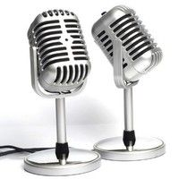 Geek | New Classical Design Gooseneck Vintage Retro Condenser Computer PC Laptop Studio Wired Microphone MIC (Color: Silver)