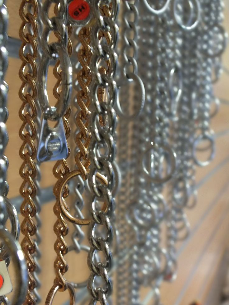 Various Check Chains, when used correctly they are are not to remain tight around the dogs neck, but to remain loose unless correction is needed which is the 'check' sound.