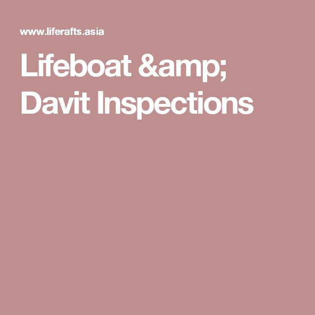 Lifeboat & Davit Inspections