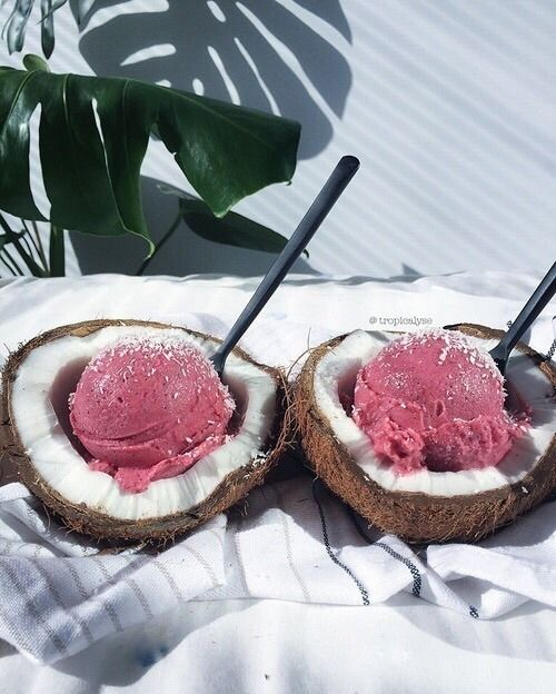 You put the ice cream in the coconut and mix it all up