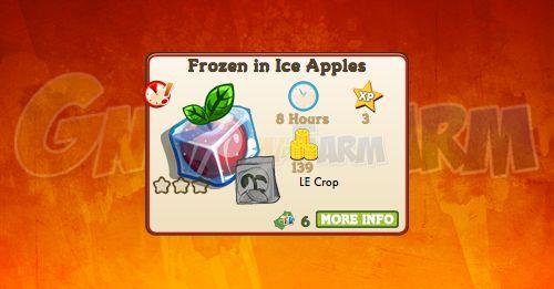 Nuova coltivazione a Ed. Limitata disponibile nel Market fino al 19/12/2017: Frozen in Ice Apples tempo stimato per la lettura di questo articolo 1  Nuova coltivazione a Edizione Limitata disponibile nel Market dal 20/10/2017 fino al 19/12/2017  Frozen in Ice Apples  Livello minimo: 5  Matura in: 8 ore  Costa: 60 Coins  Fa guadagnare 3 XP  Rende: 139 Coins  Mastery: 600 / 600 / 600 (tot. 1.800)  Per piantareFrozen in Ice Applesè necessario acquistare una licenza da6 FV Cash!