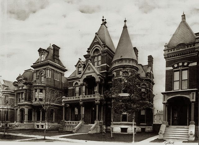 Frost House. Victorian mansion. Brush Park, Detroit. The whole area is abandoned