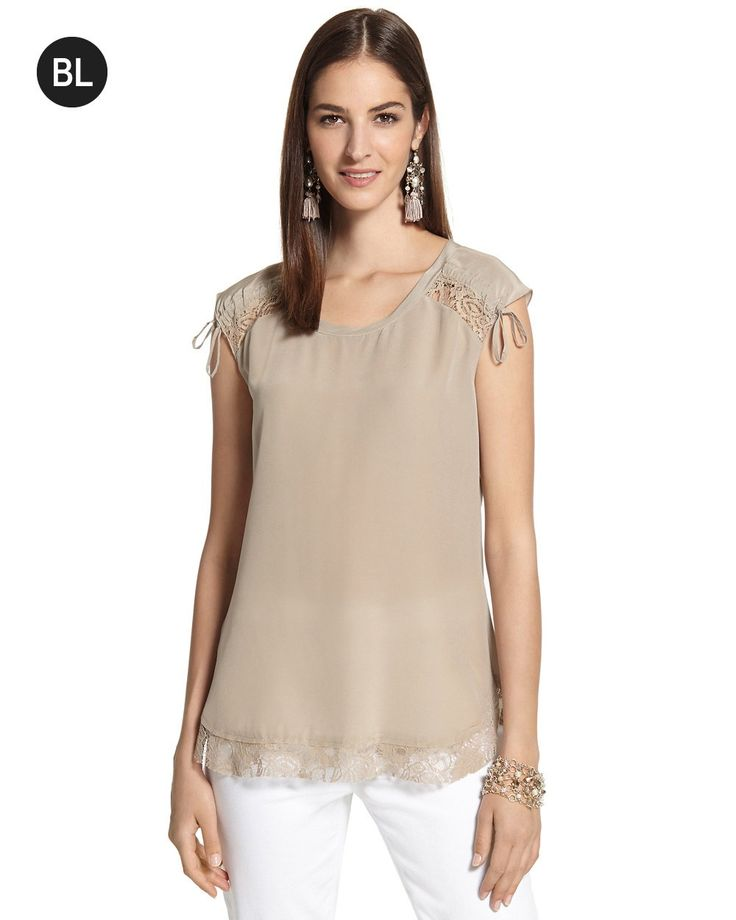 Ruched Shoulder Lace Top