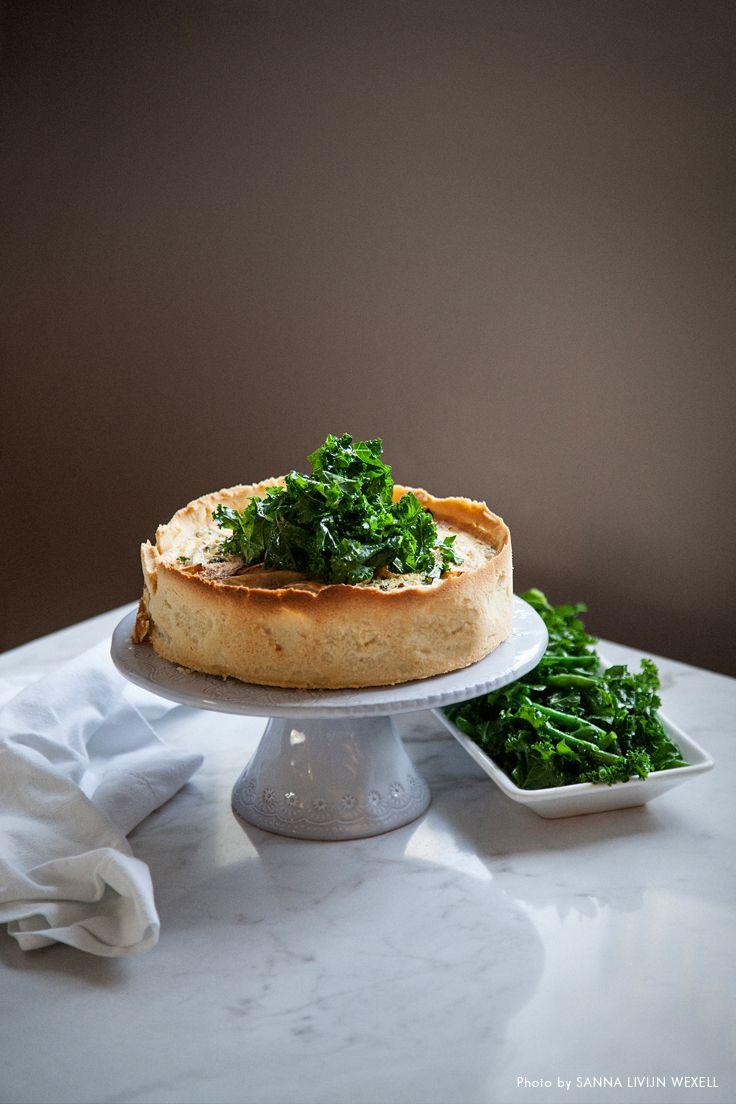 Pumpkin and goat cheese quiche. Recipe: Louise Johansson, Photo & Styling: Sanna Livijn Wexell.