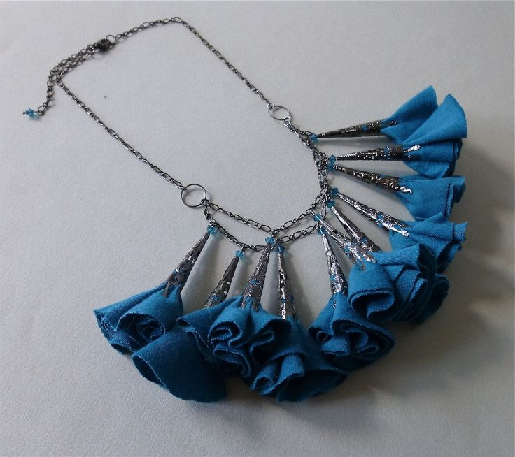 Teal Blue and Gunmetal Fabric Flower Necklace