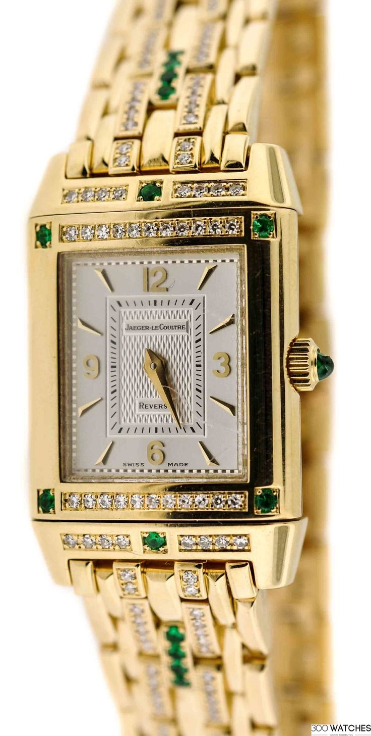 Women Jaeger-LeCoultre Reverso YG Diamond and Emerald Dress   diamond watches for women   300watches