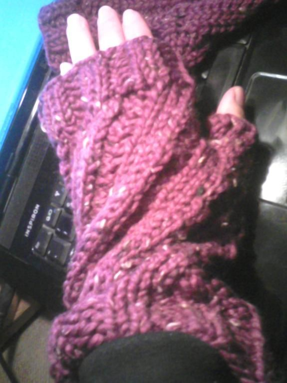 Fingerless Gloves--very easy and fast to knit up.