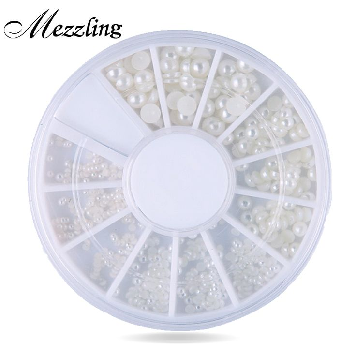 Mix 4sizes White Natural 3d Pearl Nail Art, Flatback Rhinestone Nail Beads Wheel,DIY Phone Manicure Beauty Nail Decoration Tools
