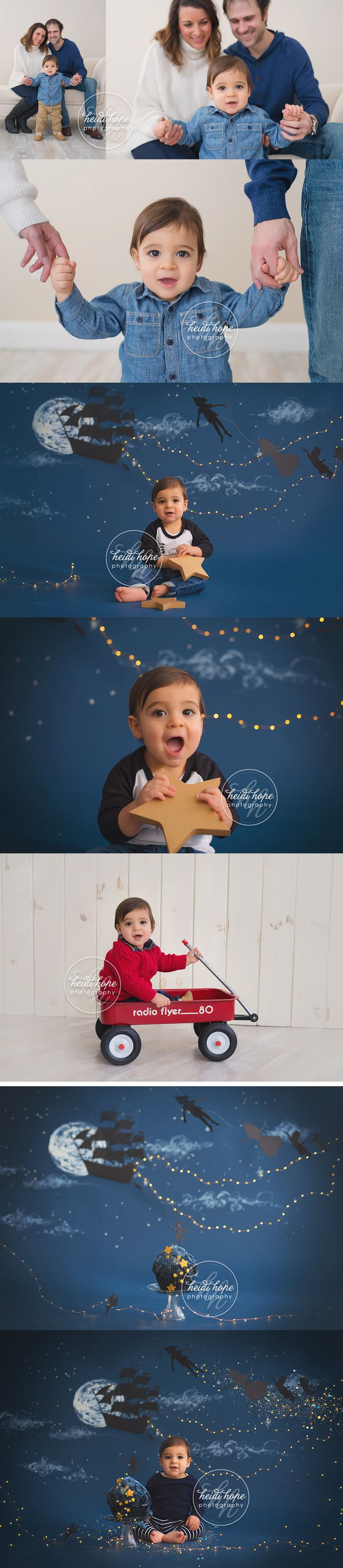 A magical peter pan first birthday cake smash for baby Z by Boston Baby Photographer. | Heidi Hope Photography