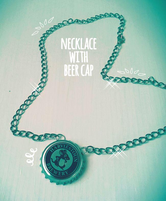 Tutorial collana con tappo di bottiglia di birra.