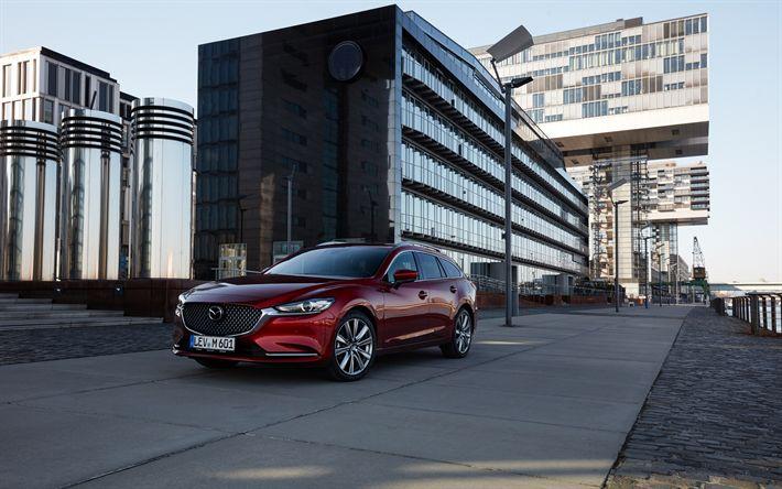 Download wallpapers Mazda 6 Wagon, street, 2018 cars, Mazda6, new Mazda 6, Mazda
