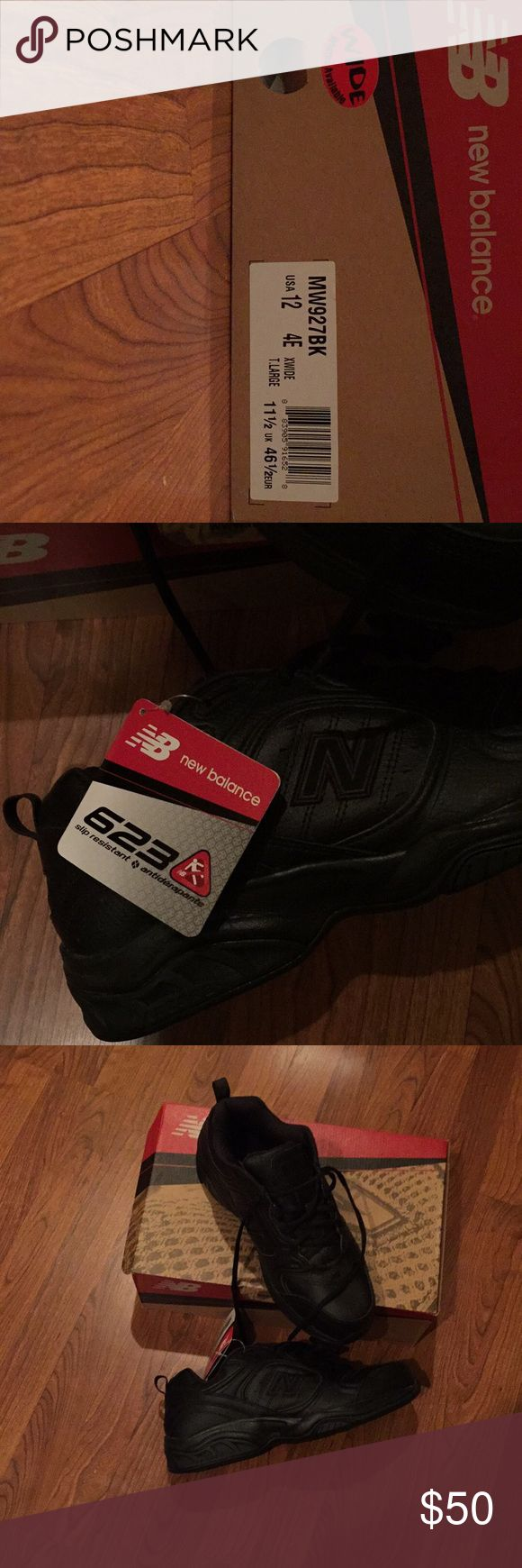 Men's New Balance Black sports shoes. Size 12 4E Brand New with tags and box. Wide shoe. 12 EEEE. Model 623. Anti slip. New Balance Shoes Athletic Shoes