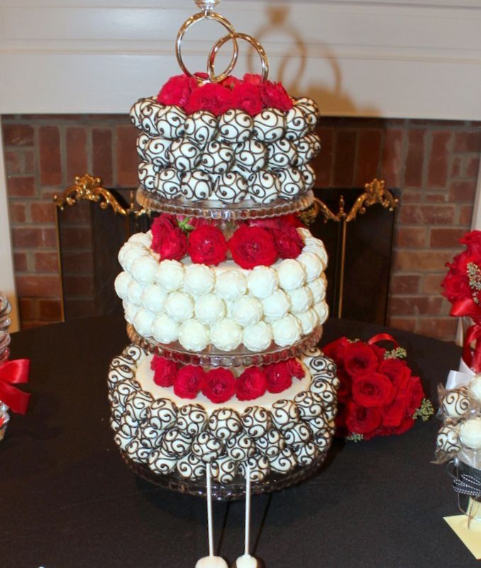 black and red cake pop wedding cake