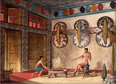 Knossos 'Hall of Double Axes' reconstruction, Evans 'Palace'