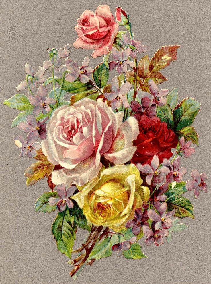Vintage rose and violets bouquet postcard