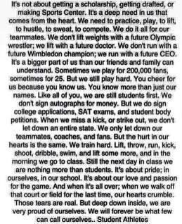 For anyone who is/was a student athlete.