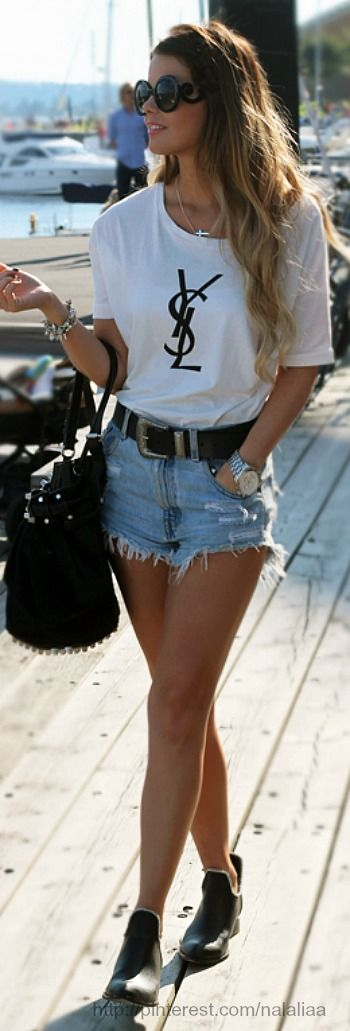 YSL tee, cutoff jean shorts and Prada sunglasses ❤