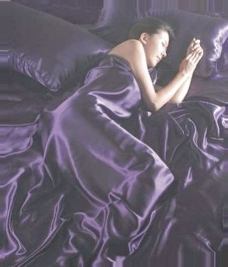 Purple Satin Super King Duvet Cover, Fitted Sheet and 4 Pillowcases Bedding Set