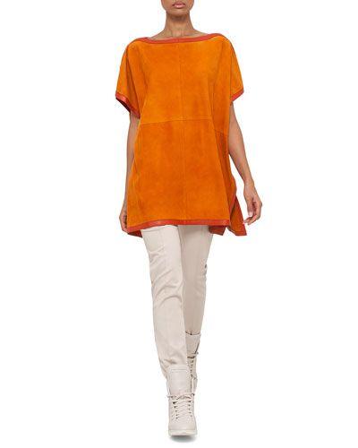 -6NKV Akris  Short-Sleeve Suede Tunic Blouse, Karminspint Melissa Mid-Rise Slim Pants, Steppe