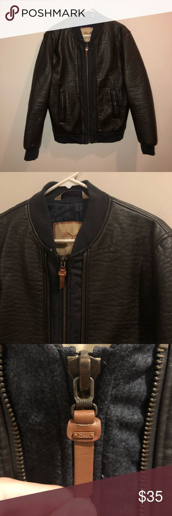 Zara Man Faux Leather Bomber Jacket brown Faux leather
