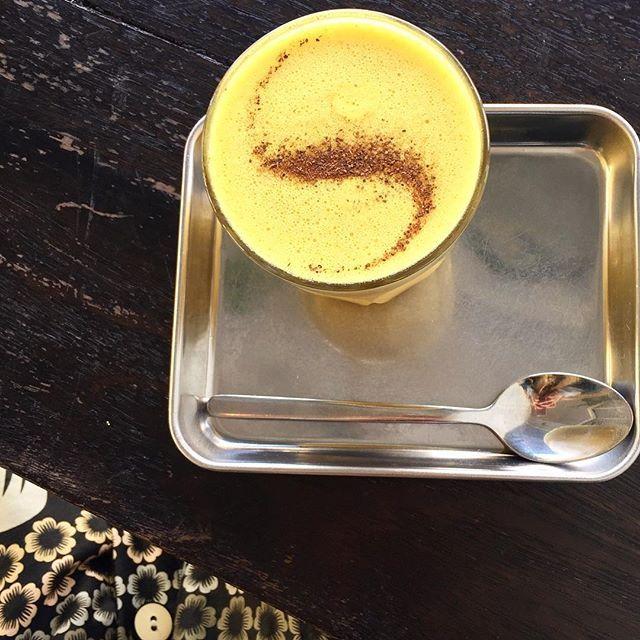 Turmeric Coconut Milk Latte to match my dress 💛