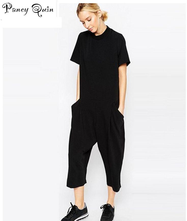 Plus size zwart rompertjes vrouwen jumpsuit zeven grote jumpsuit side pocket loszittende body jumpsuits romper overalls vrouwen